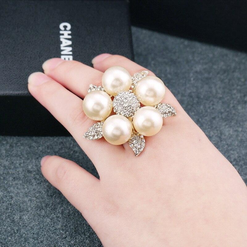 Rainbery cristal pérola anéis folha de cristal aberto ajustável grande pérola anéis para festa de casamento feminino rn0099
