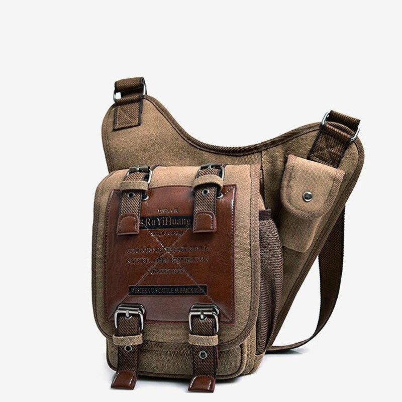 Bolsos de hombro de cuero Vintage para hombre, bolsos de hombro para hombre, bandolera pequeña, bolso de lona, bolsa de sillín militar Vintage