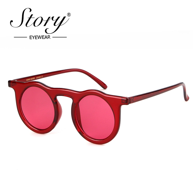 STORY Vintage Retro Red Small Round Sunglasses Brand Designer Small Frame Ladies Sun Glasses Black Mirror Shades Female UV400