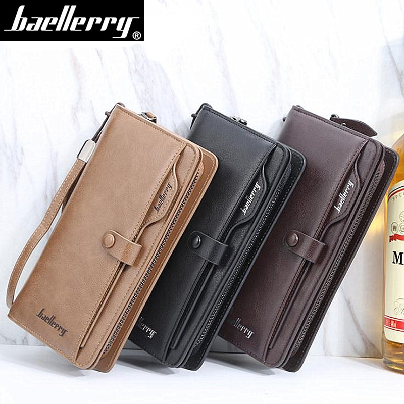 New Arrival Leather Men Wallets Large capacity Driver License Phone Wallet Casual Male Clutch Long Z
