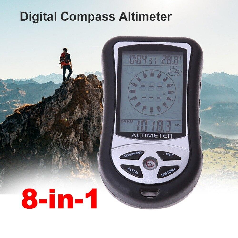 Altímetro electrónico de mano 8 en 1 montañismo barómetro de pesca portátil altímetro plata gris
