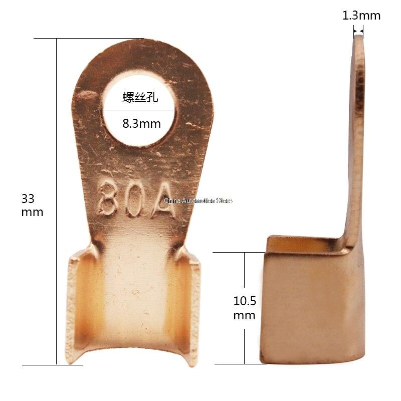 10 Uds 80A de cobre cable de batería Terminal conector prensa 6-16mm2 de OT-80A