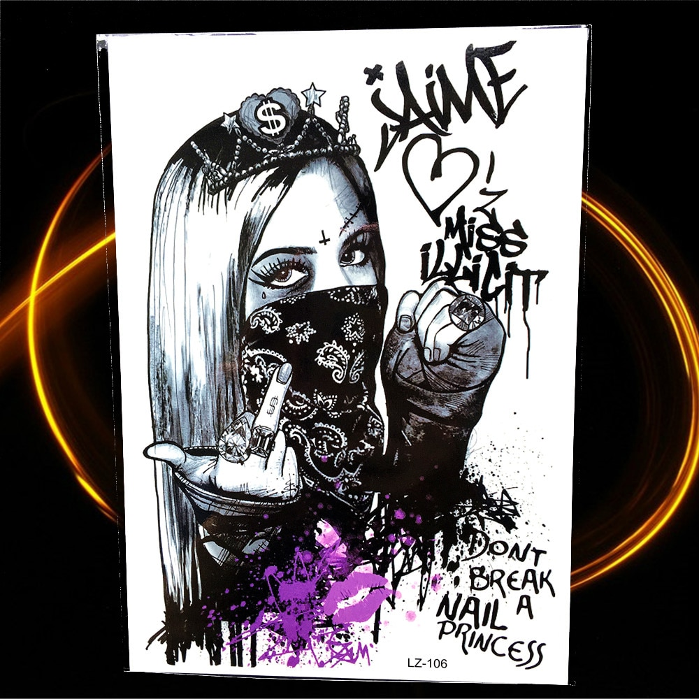 Pop chica rebelliosa con máscara tatuaje temporal para mujer brazo pierna tatuaje falso impermeable agua Color Graffiti Flah tatuaje pegatinas