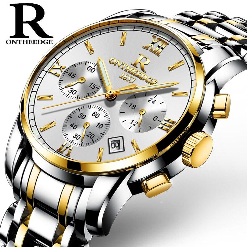 Ontheedge الرجال ساعة كرونوغراف مضيئة اليد التناظرية ساعات يد رياضية 30 متر مقاوم للماء المقاوم للصدأ الذكور الساعات ساعة Reloj
