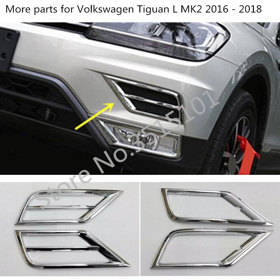 Auto ABS Chrom Lampe Front Kopf Nebel Licht Trim Rahmen Stick 2 stücke Für Volkswagen VW Tiguan L TiguanL MK2 2016 2017 2018 2019 2020