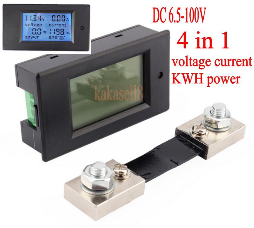 DC 6,5-100 в 100A LCD комбинированный измеритель напряжения тока кВт/ч ватт панельный метр 12 в 24 в 48 в контроль заряда батареи + 100A шунт