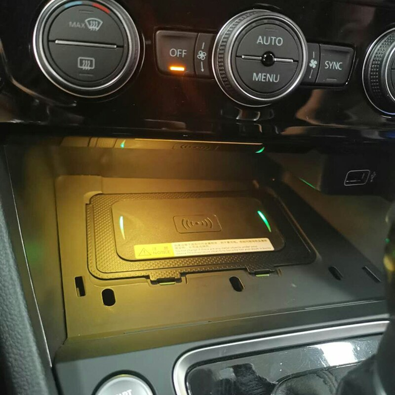 10 w carro qi carregador de telefone sem fio de carregamento sem fio carregador móvel acessórios do carro para vw t-roc teramont phideon para jetta 2019