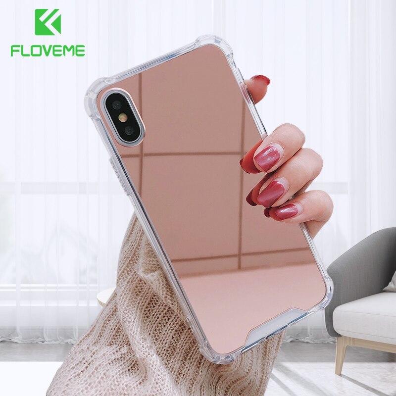 FLOVEME, funda de teléfono para iPhone X XR XS Max, cubierta a prueba de golpes con espejo de lujo para iPhone 8 7 6 6s Plus SE, carcasa de TPU suave