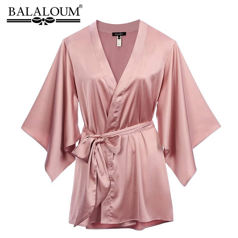 Balalum الوافدين الجدد النساء الوردي رداء الحرير مثير كيمونو ثوب النوم ثوب النوم الزفاف الزفاف أردية الحمام هدية عالية الجودة