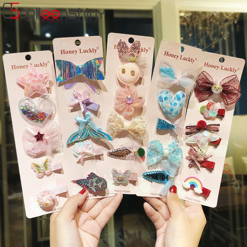 BalleenShiny 5pcs Cute Korean Hairpin for Girls Cartoon Bow Color Hair Clip Children Baby Princess Hair Accessories  Headdress
