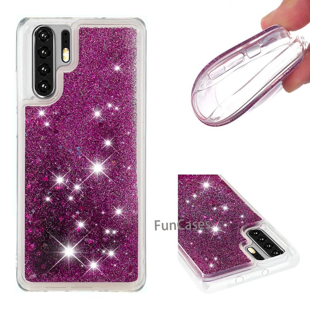 Funda de unicornios con flamenco dinámico transparente con brillo para Huawei P30 Pro, fundas blandas ostentosas con arena movediza líquida para Huawei P30 Pro, funda para teléfono