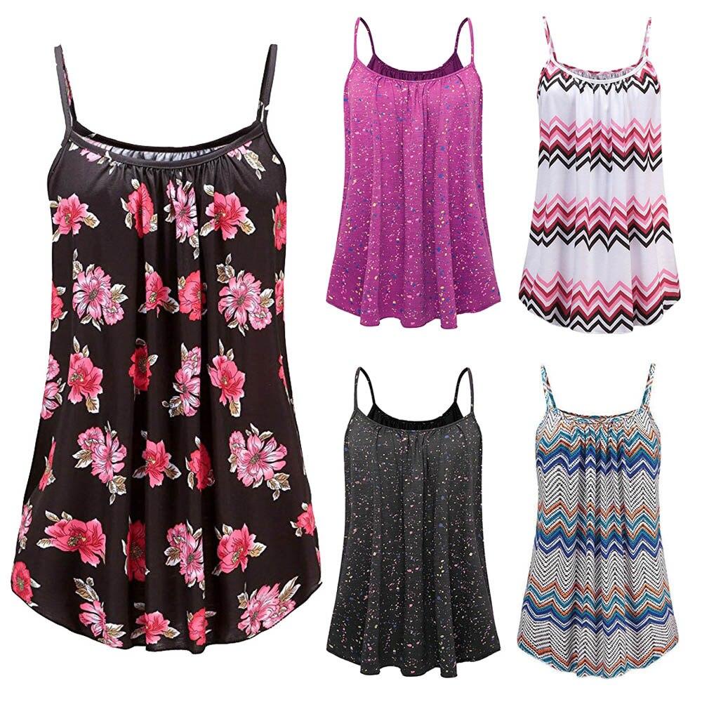 Plus size S ~~ 6XL vetement femme 2019 Mulheres moda Roupas de Verão Impresso Mangas Vest Blusa Regatas Camis preto