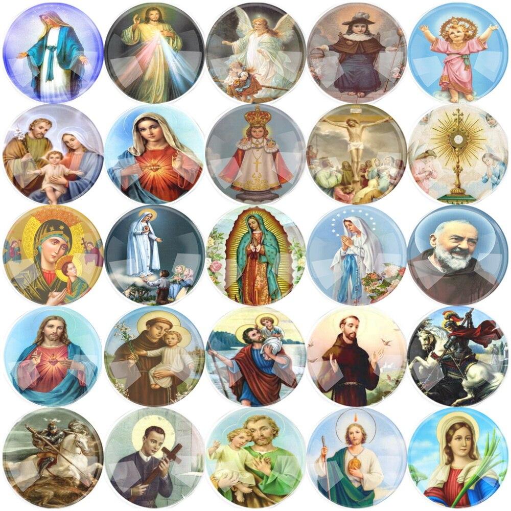 10 ~ 25mm 12 ~ 50 piezas redondas mixtas de vidrio de dibujos animados religioso cabujón accesorio de cristal cabujón DIY joyería Saint Rita Accesorios