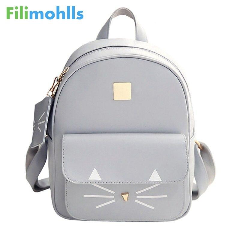 ¡Producto en oferta! Mochila con estampado de gato, de piel sintética minimochilas, mochilas escolares para mujeres, bolsas para adolescentes, mochilas para niños, S1304