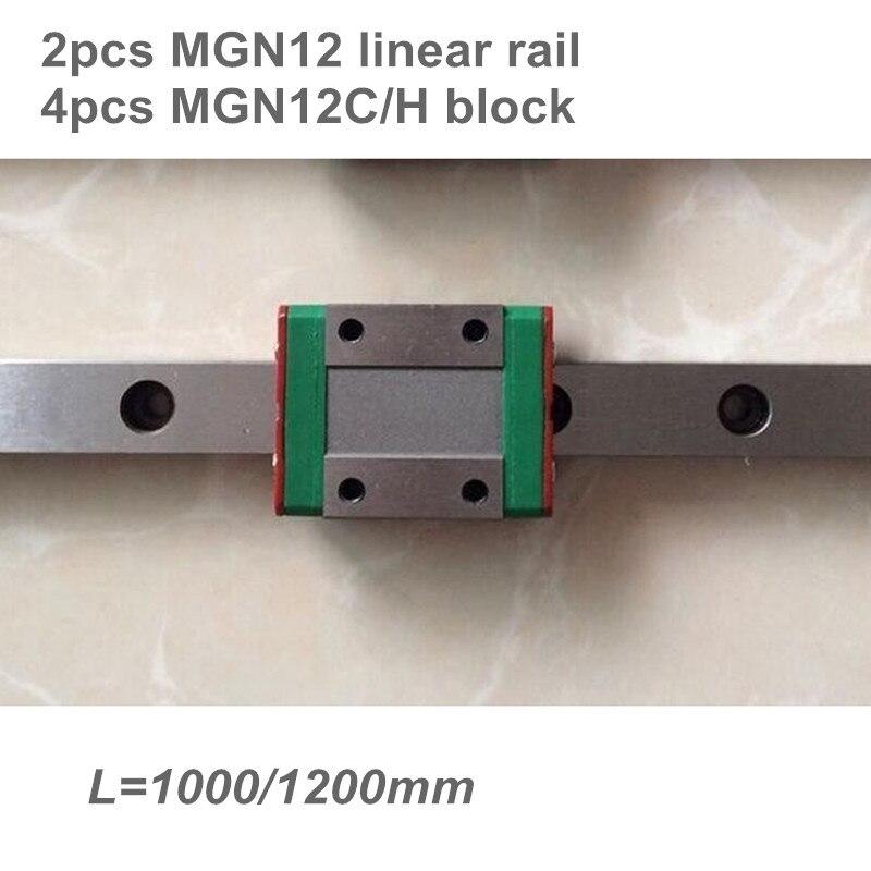 2 قطعة 12 مللي متر الخطي دليل MGN12 L = 1000 1200 مللي متر خطي السكك الحديدية الطريق + 4 قطعة MGN12C أو MGN12H طويلة الخطي النقل