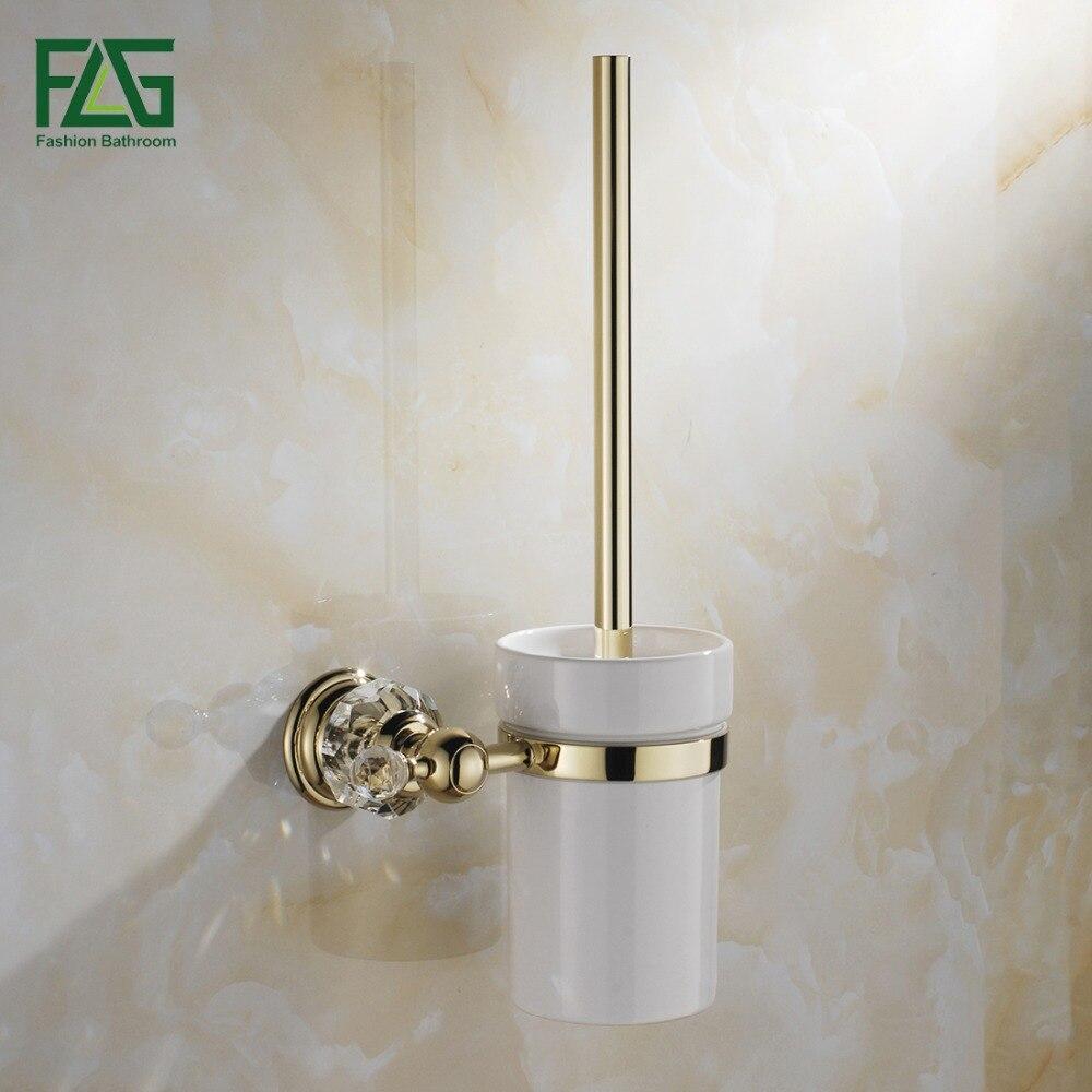 FLG كريستال الذهبي النحاس ملحقات الحمام المرحاض حامل فرشاة مع كأس مجموعة الحائط التركيبات الصحية G154-09G