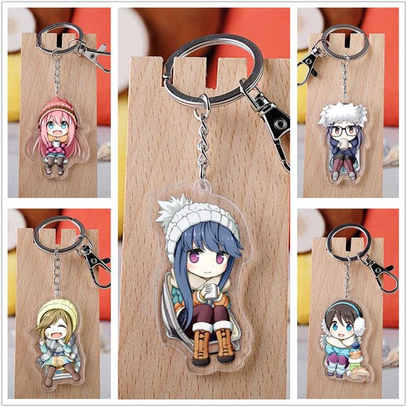 10 pcs/lot Anime Yuru Camp acrylique porte-clés jouet Figure sac pendentif Double face porte-clés cadeaux