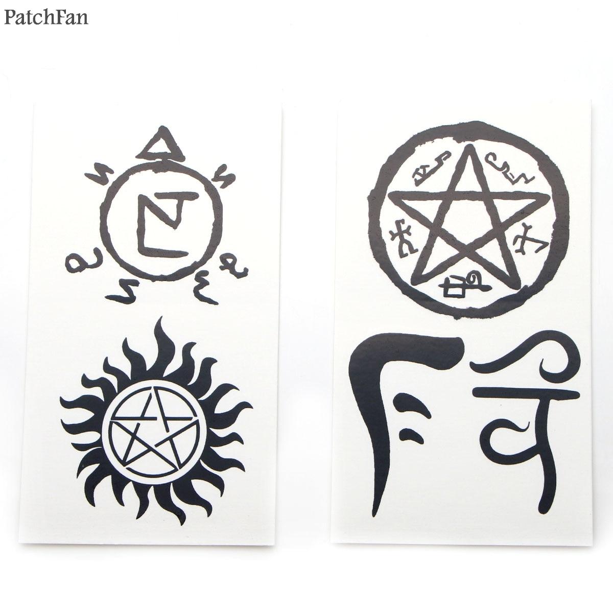 50 unids/set Patchfan sobrenatural del arte de cuerpo del tatuaje temporal etiqueta para los hombres y las mujeres maquillaje para cosplay hombro brazo dropshipping. Exclusivo. A1166
