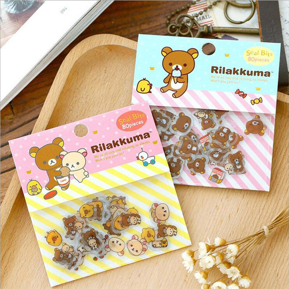 80 unids/lote lindo Rilakkuma Mini papel adhesivo bolsa oso Diy diario Decoración Para planificador pegatina álbum de recortes Kawaii papelería
