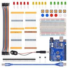 Kit de démarrage UNO R3 mini platine de prototypage LED bouton de fil de démarrage pour la compatibilité Arduino