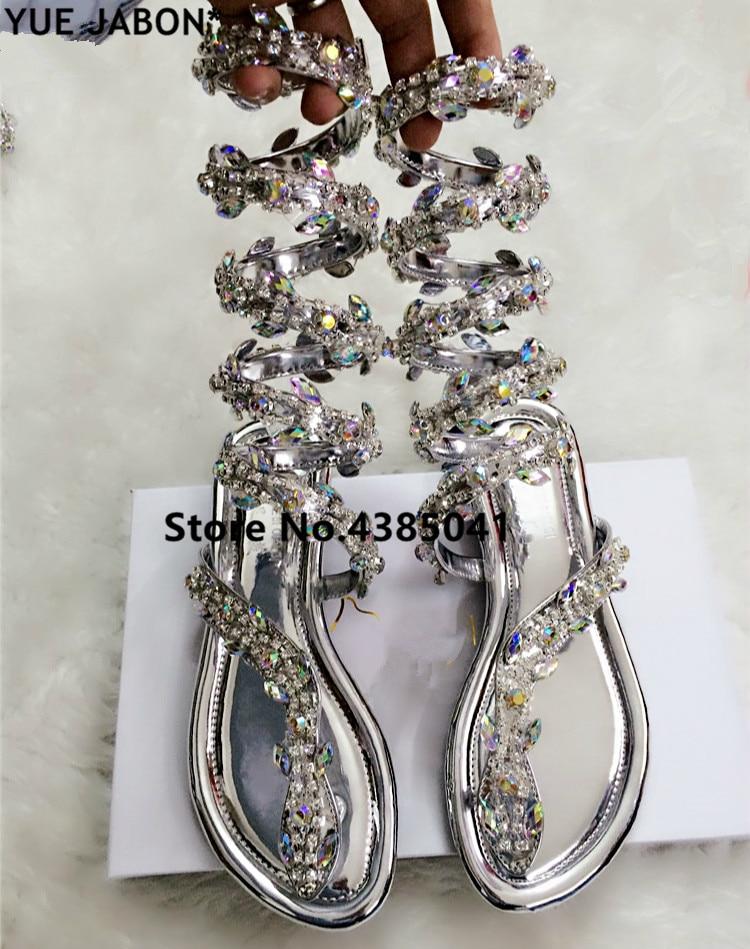Сандалии YUE JABON женские на плоской подошве, роскошные босоножки-гладиаторы, со стразами, Змеиный стиль, панк, Свадебная обувь для вечеринки, л...