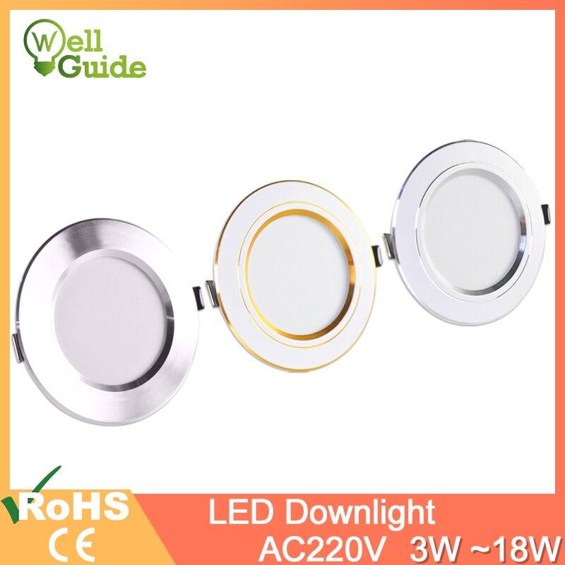 Led downlight oro plata blanco Ultra delgado de aluminio 3W 5W 9W 12W 15W 18W downlight AC220V 240V ronda luz lez empotrada iluminación