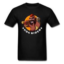 2018 Hog Rider T-shirt Mannen Spel T-shirt Hunter Gamer Kleding Cartoon Tops Funny Tees Zomer Zwart T-shirt Plus Size