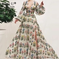 luxury embroidery lace flower sexy evening dresses 2021 puffy long sleeve fashion evening gowns real photo