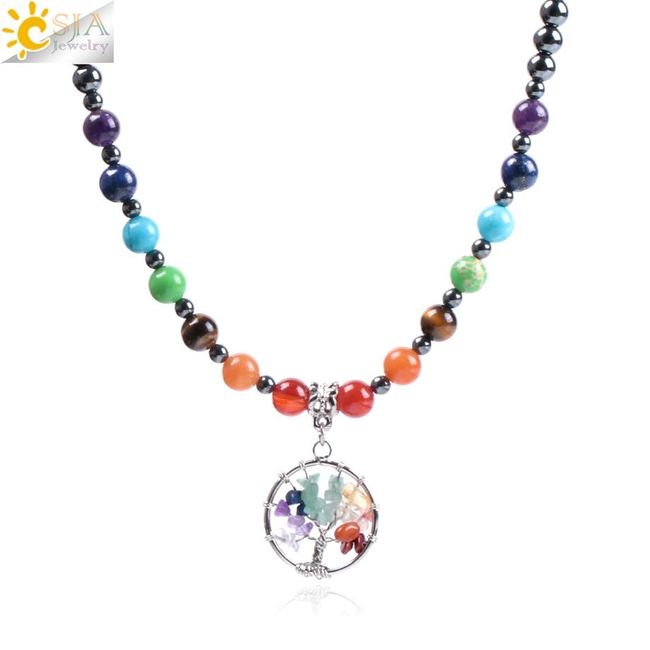 CSJA 2018 Natural Gem Stone Black Hematite 7 Chakra Tree of Life Men Necklaces Pendants Reiki Healing Bohemian Boho Jewelry F001