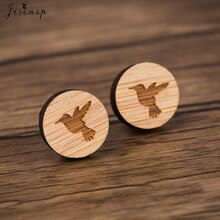 Jisensp Simple Design Tiny Bird Wooden Earrings New Fashion Flying Bird Stud Earring bijoux for Wome