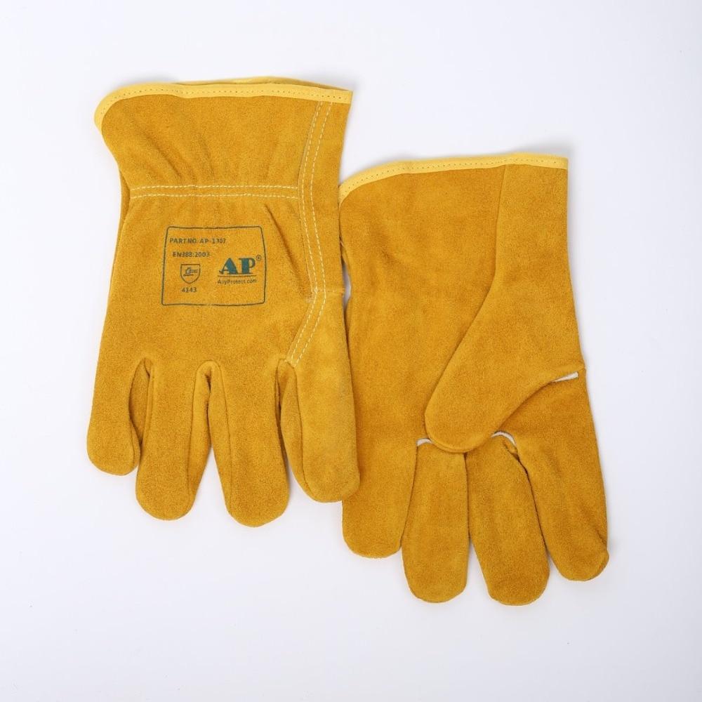 """Guantes mecánicos para conductores, guantes de trabajo de cuero de vaca, 25cm (10 """") de longitud, guantes de soldadura TIG con certificado CE"""