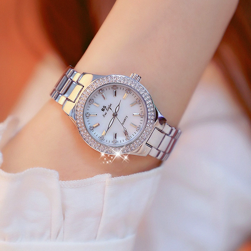 2019 Fashion Rose Gold Quartz Watches Female Stainless Steel Wristwatches Luxury Brand lady Crystal Watch Women Dress Watch enlarge