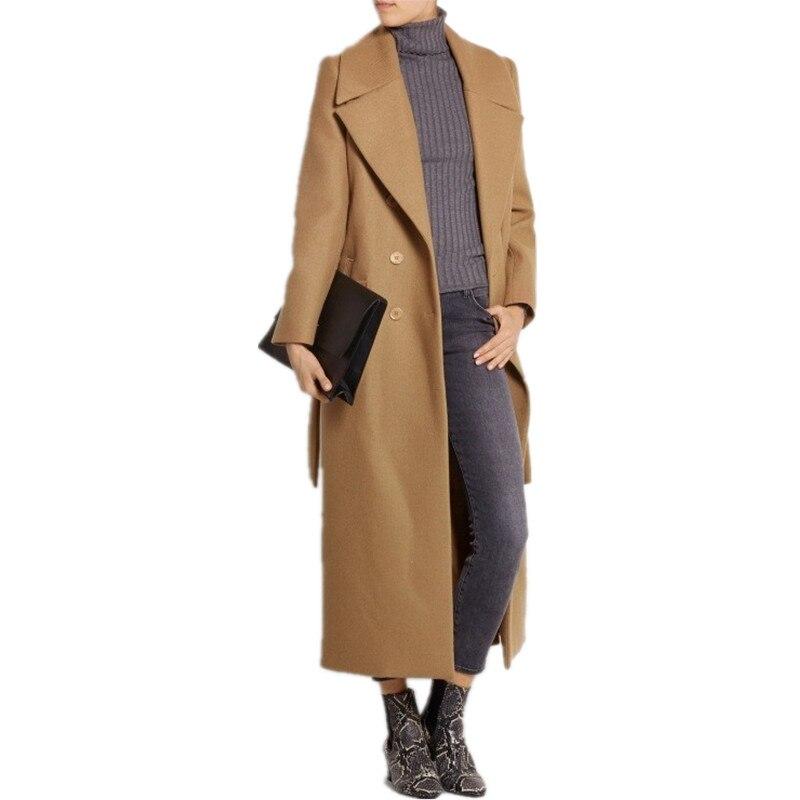 Casaco feminino 2020 UK mujeres de talla grande Otoño Invierno Cassic Simple lana chaqueta Maxi larga bata femenina prendas de vestir exteriores manteau femme