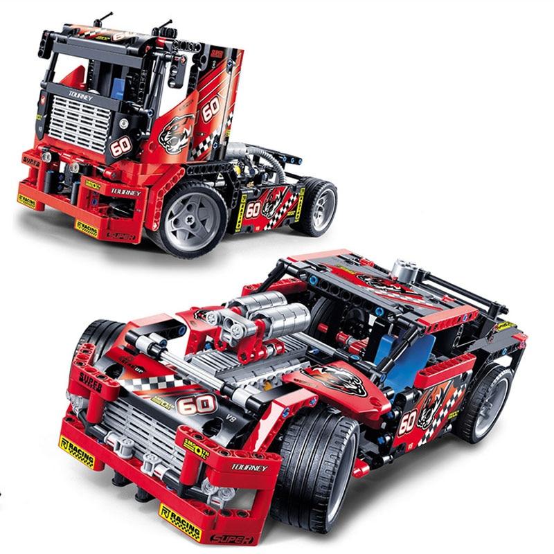 608 pçs carro caminhão de corrida 2 em 1 modelo transformável blocos construção define decool 3360 diy brinquedos compatíveis técnica presente aniversário
