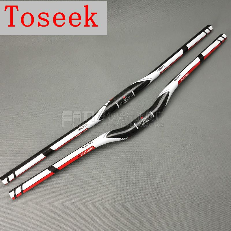 Toseek futuro bicicleta de fibra de carbono completo manillar MTB bicicleta plana/rise manillar 3k 31,8*600/620/640/660/680/700/720mm piezas de bicicleta