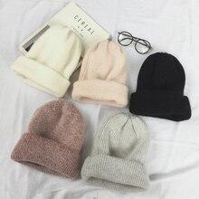 Bonnet couvre-chef de lapin pour adulte   Automne, hiver, cheveux de lapin, skullies, mode chaud, bonnets chapeaux décontractés femmes, solide