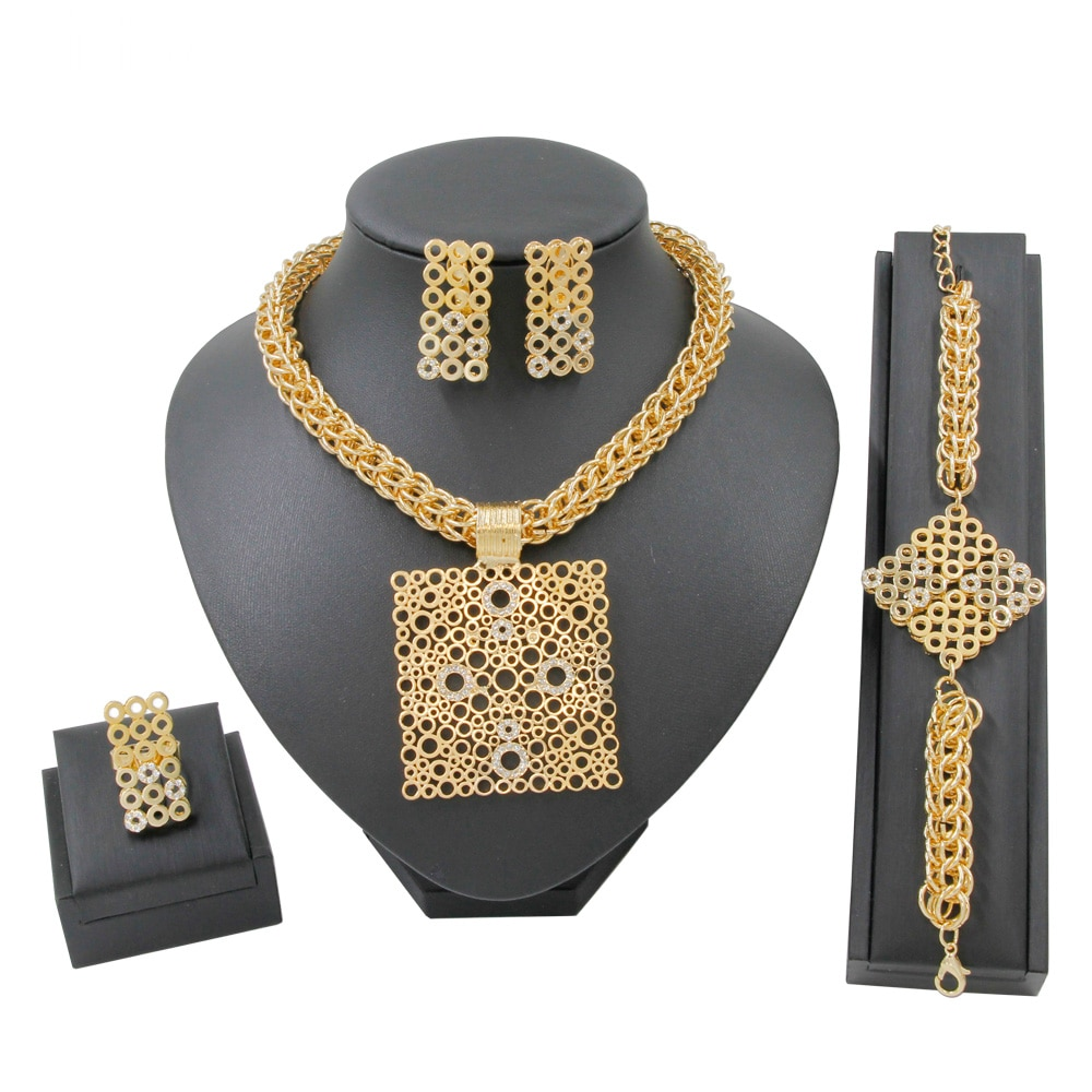 Moda 2019 forma quadrada design 18 conjuntos de jóias de ouro cristal colar pulseira anel aniversário presente acessório