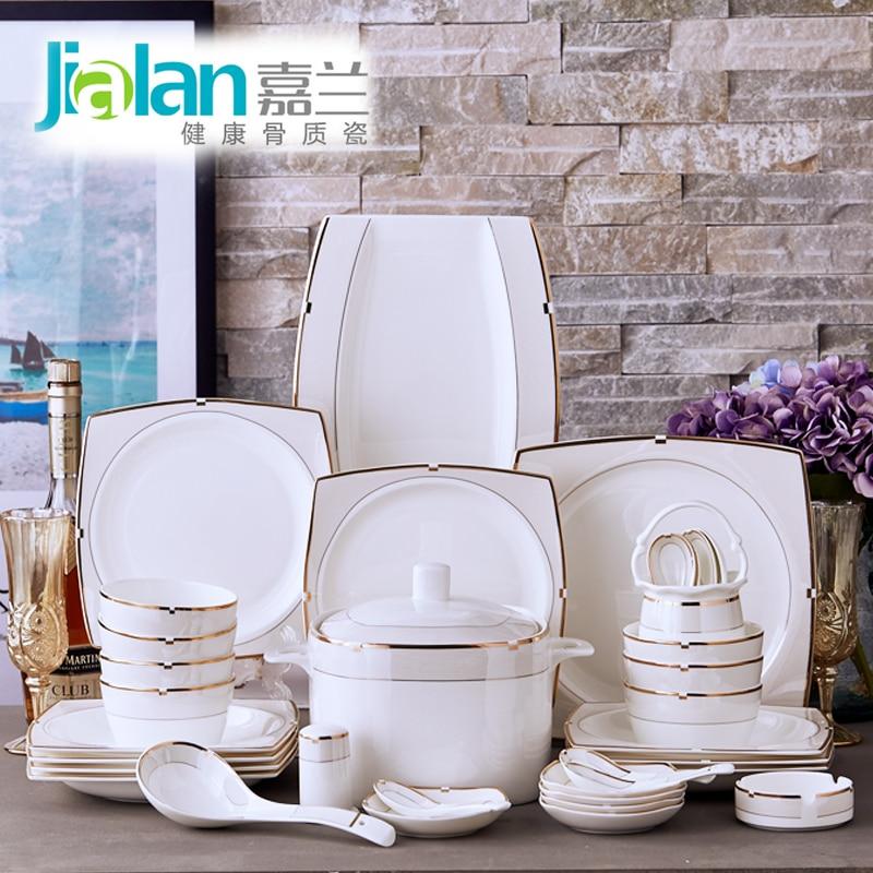 Bone china tableware suit European dishes garland style luxury wedding gifts household Phnom Penh ceramic bowls