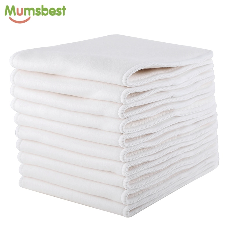 [Mumsbest]10pcs 4Layer Bamboo Cotton Inserts Diapers For Children Reusable MCN Nappies Liner 5 Layers OS Nappy Booster