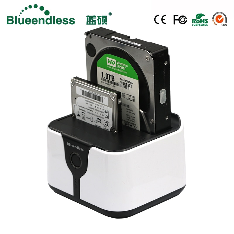 2-Bay Hdd Box 3.5 Sata to Usb 3.0 Hdd Docking Station External Hdd Case 6Gbps Plastic 2.5 for 7-12.5mm Hard Disk Case Hd Externo