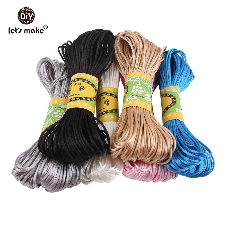 Let's make 5pcs 100Meter Soft Satin Nylon Colorful Cord Solid Rope Jewelry Making Beading Cotton Cord For Baby 1mm DIY Necklace