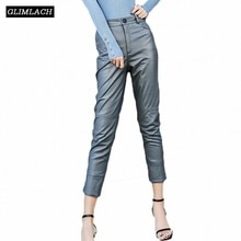 Autumn Winter Genuine Leather Pencil Pants Women Slim Real Sheepskin Leather Trousers Fashion Harajuku Casual Streetwear Ladies