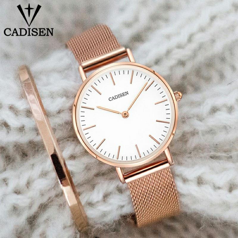 Женские кварцевые часы CADISEN, ультратонкие водонепроницаемые часы из нержавеющей стали 32 мм, браслет