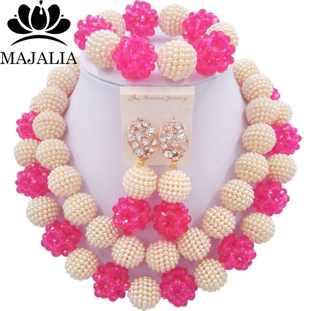 Majalia Mode Nigeria Hochzeit Afrikanischen Schmuck-Set Beige und pink Kristall Kunststoff Perlenkette Braut Schmuck Sets 2CY020