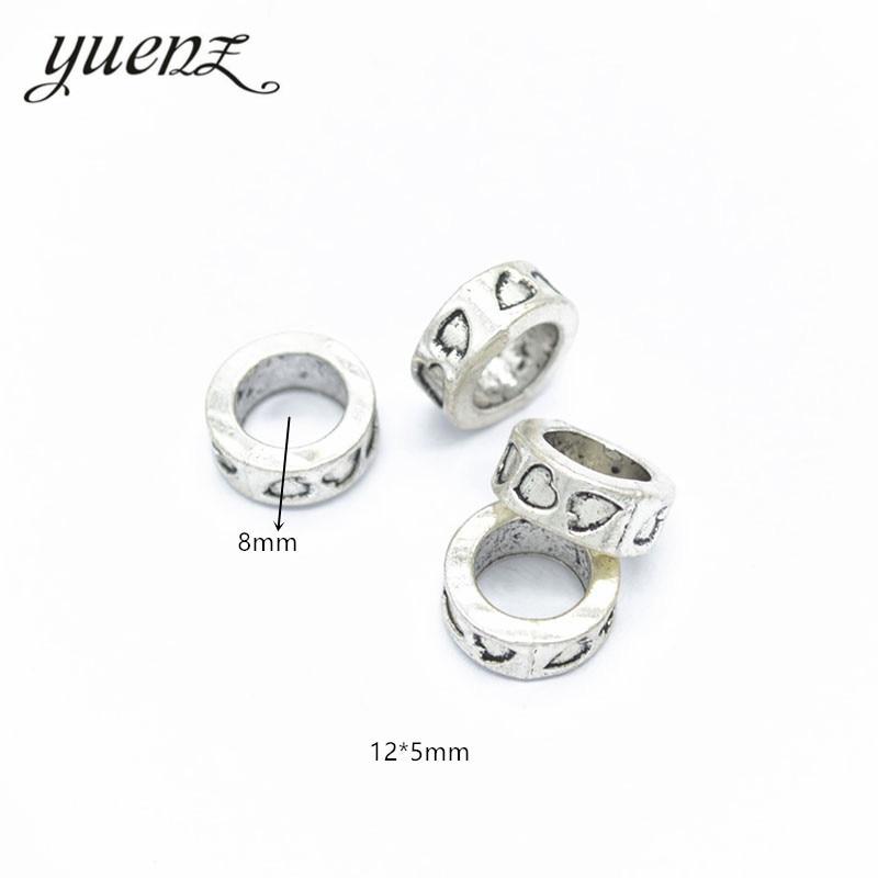 YuenZ 10 piezas espaciador aleación encanto gran agujero tibetano plata corazón cuentas encanto europeo colgante Fit mujer encanto pulsera DIY R47