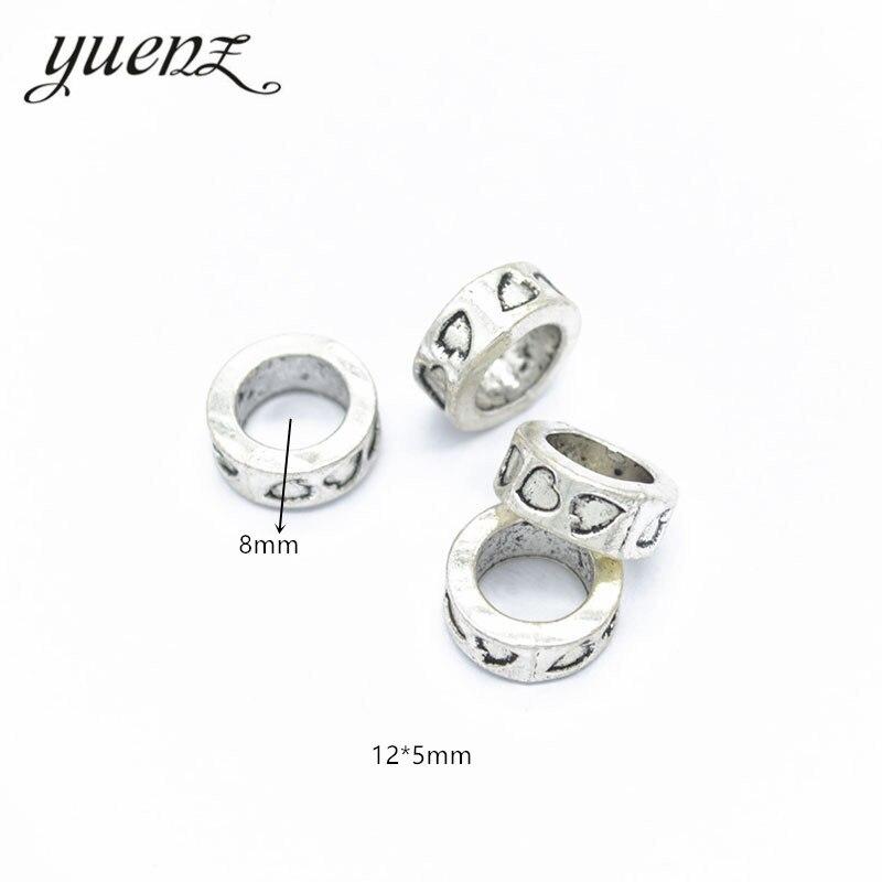 YuenZ 10 pièces entretoise alliage charme grand trou tibétain argent coeur perle perles breloque pendentif européen Fit femmes bracelet à breloques bricolage R47