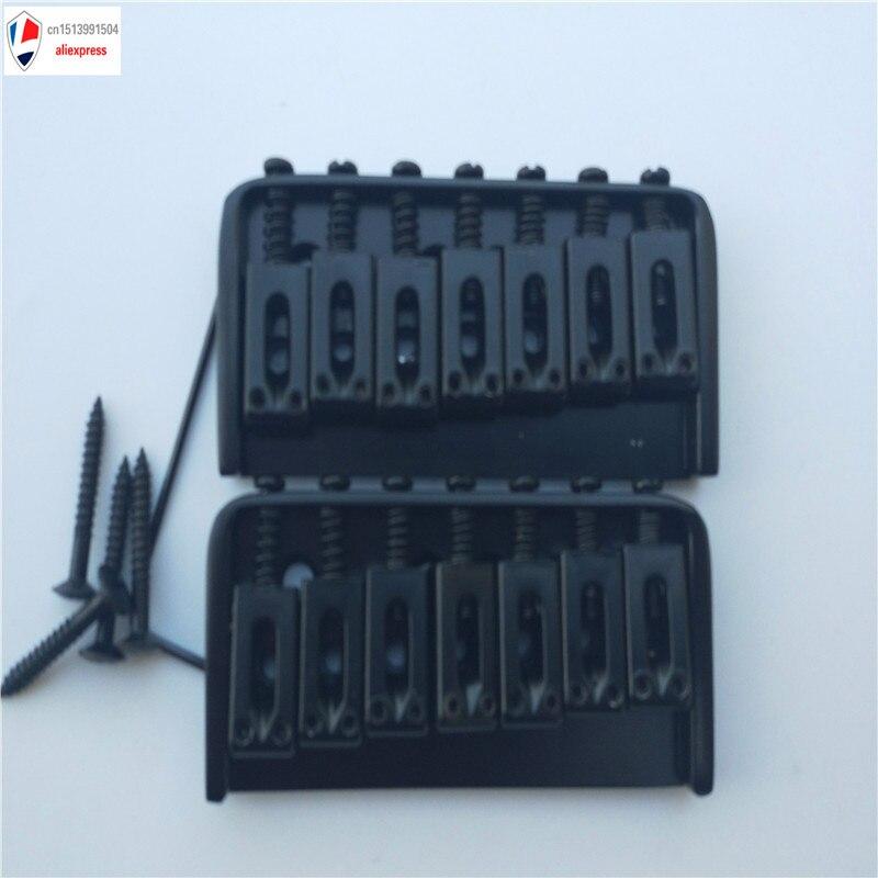 1 Juego de Metal cromado de 7 cuerdas de guitarra eléctrica fija sin puente trémolo, negro cromado