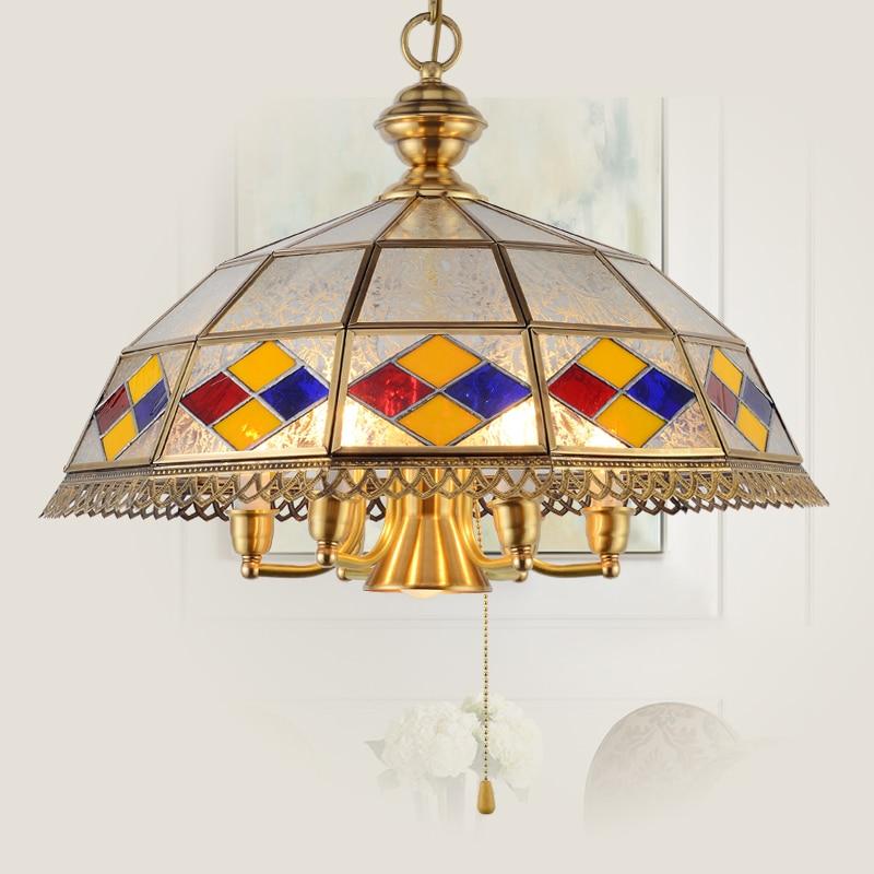 Candelabro de hogar Chateau comedor Retro de latón del sudeste asiático Multicolor araña de cristal Pastoral mediterránea ZA626 ZL155 YM