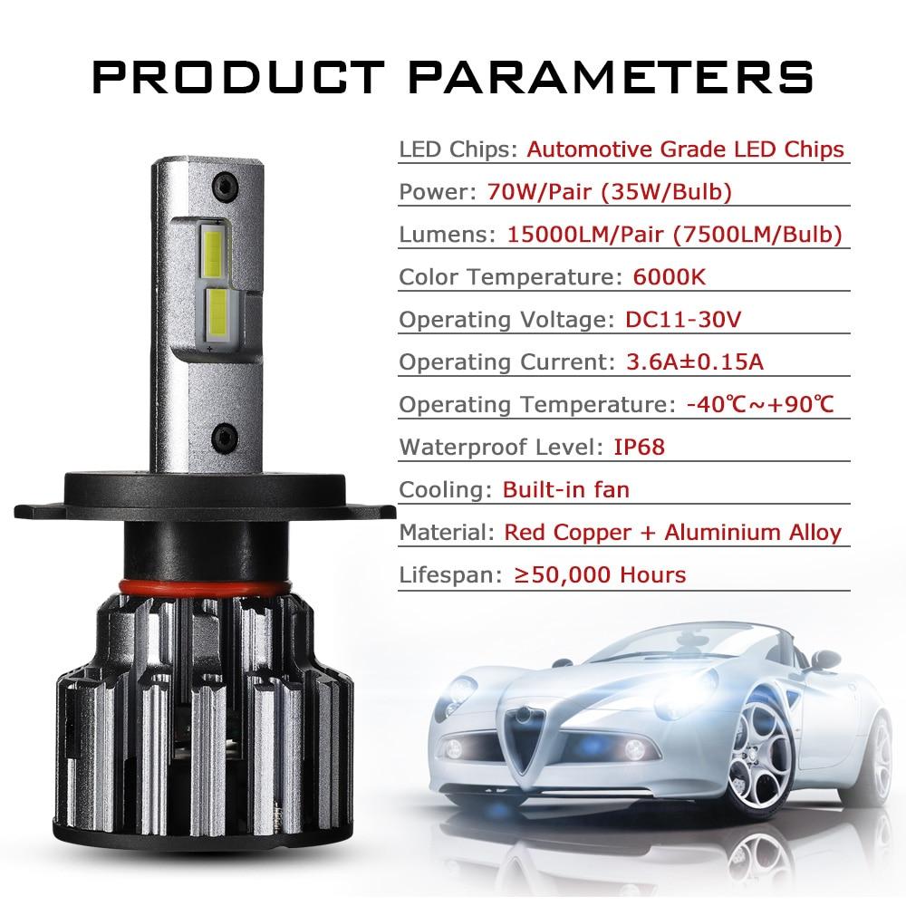 Bombillas LED H11 9006 9005 para faros de coche 70W 15000LM, decodificador de luces delanteras LED para automóviles, 6000K 12V 24V D40