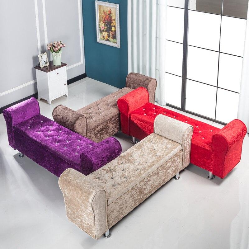 كرسي تخزين متعدد الوظائف ، مقعد من القماش ، سرير ، غرفة نوم